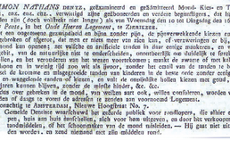 Advertentie Simon Nathan Dentz, Zierikzeesche Courant
