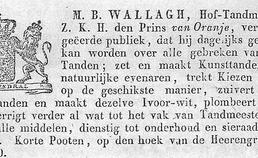 Advertentie van tandmeester in  19e eeuw