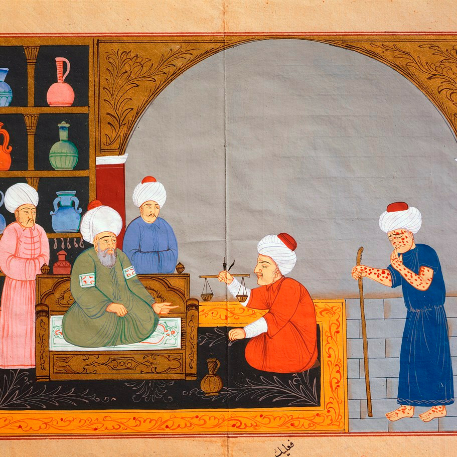 Avicenna geeft les over de behandeling van pokken (Bron: The Art Archive / University Library Istanbul / Gianni Dagli Orti).