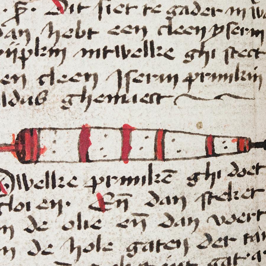 Afb. 1. Voorbeeld van een knopsonde in een beschermend buisje (met toestemming van Master en Fellows van St John's College, Cambridge).
