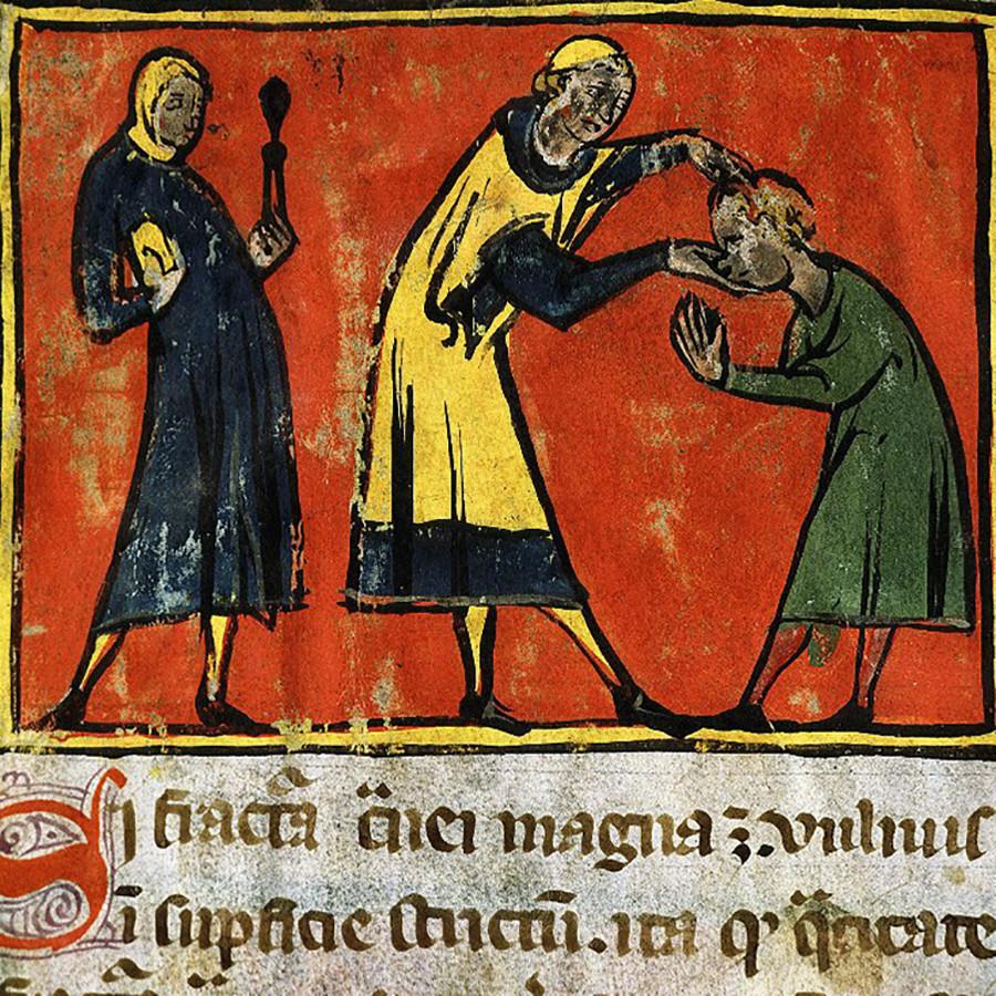 Afb. 1. De chirurgijn inspecteert de patiënt; de assistent staat klaar met de tang (Bron: The Art Archive / Bibliothèque Universitaire de Mèdecine, Montpellier / Gianni Dagli Orti).