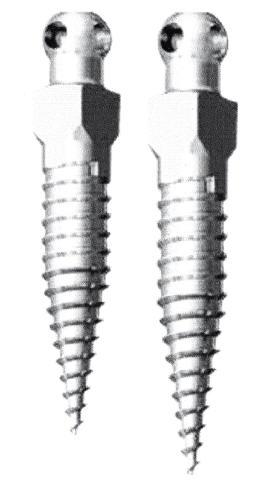 Afb. 1. Een voorbeeld van een minischroef; 2 verschillende lengtes worden getoond.