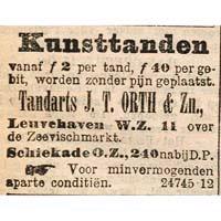 Afb. 4. Advertentie van tandarts J.T. Orth & zn.voor het 'pijnloos'plaatsen van 'kunsttanden' (Rotterdamsch Nieuwsblad, 19 oktober 1904).
